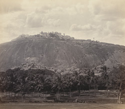 Views in Mysore. Shevana Bala Gola [Sravana Belgola]. The Rock and Statue from below
